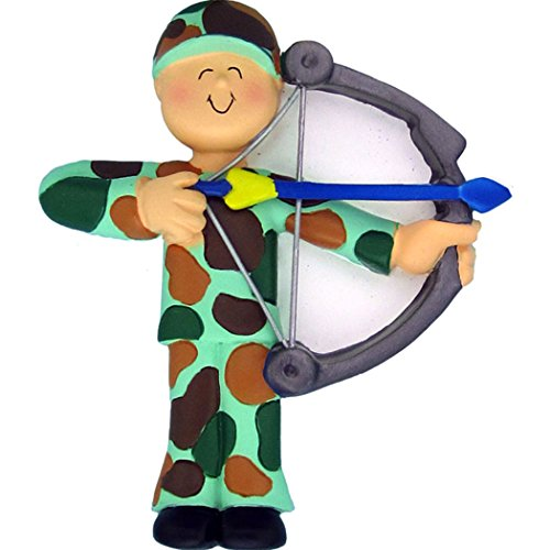 Personalized Hunter Archery Christmas Tree Ornament 2019 - Camouflage Combat Man Practice Shooting Bow Arrow Target Hunting Hobby Sport Recreational Activity - Free Customization (Camo)