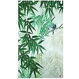 Cheap Xiaopangzi Thin Polyester Oriental Flower Style Doorway Curtain 80 x 150cm (Bamboo)