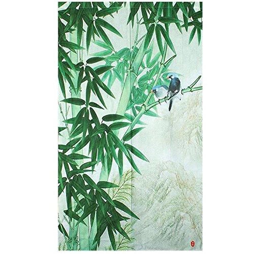 Xiaopangzi Thin Polyester Oriental Flower Style Doorway Curtain 80 x 150cm (Bamboo) ()
