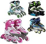4in1 Inline Skates   SportVida   Roller Blades   Iceskating   QUAD Roller Skates   Adjustable Size   Children Kids Adults Men Women (Turquoise, EU 35-38 UK 2,5-5)