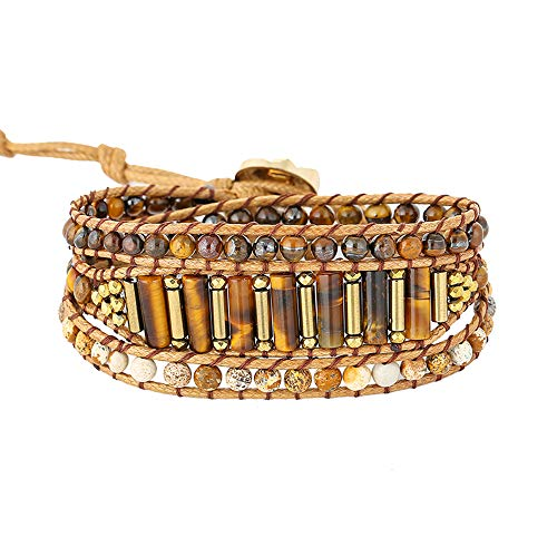 IUNIQUEEN 3 Wrap Creative Dazzling Handmade Adjustable Bead Statement Bracelet Jewelry Collection (Tigers Eye)