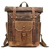 Mwatcher Waterproof Waxed Canvas Leather Backpack College Weekend Travel Rucksack 15in laptops Backpack (Khaki)