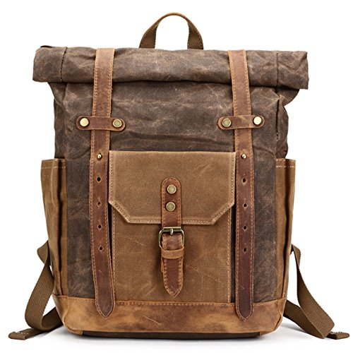 Mwatcher Waterproof Waxed Canvas Leather Backpack College Weekend Travel Rucksack 15in laptops Backpack (Khaki)
