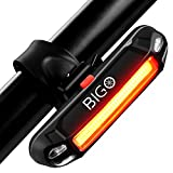 BIGO Ultra Bright Bike Light USB Rechargeable Bicycle Tail Light Waterproof Red High Intensity Rear LED Accessories 6 Modes Suitable for Helmet and Bike Easy to Install for Cycling Safety Flashlight
