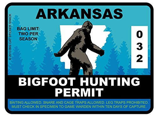 Bigfoot Hunting Permit - ARKANSAS (Bumper Sticker)