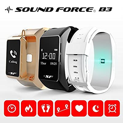 Sound Force Fitness Tracker Military Time Only Heart Rate Monitor Smart Watch Bluetooth Steps Counter-Talk Band B3-Intelligent-Activity-Monitoring-Android Apple-iPhone-Wireless, Ear Piece-Comfortable