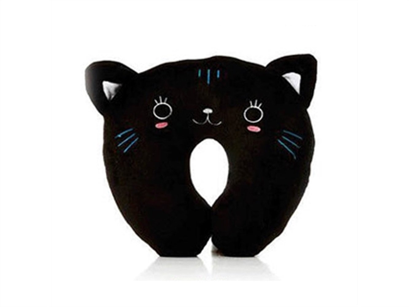 Yuchoi Perfectly Shaped Cartoon Animal U-shaped Neck Pillow Travel Car Airplane Seat Neck Rest for Home Office(Black Cat)