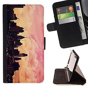 - city skyline pink yellow NYC sunset - - Prima caja de la PU billetera de cuero con ranuras para tarjetas, efectivo desmontable correa para l Funny HouseFOR Samsung ALPHA G850