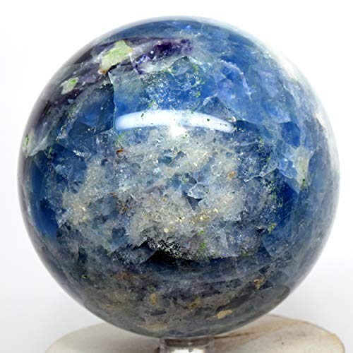 "Large 3.6"" 2.8lb Rainbow Purple Blue Fluorite Sphere Natural Sparkling Crystal Polished Mineral Decor Stone Ball - China + Stand"