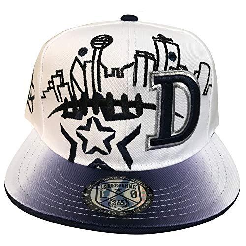 Dallas Skyline Snapback Cap in Cowboys Colors (White, Silver & Blue) -