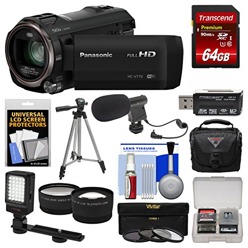 Kit Camera Twin (Panasonic HC-V770 Wireless Smartphone Twin Wi-Fi HD Video Camera Camcorder + 64GB Card + Case + LED Light + Microphone + Tripod + Tele/Wide Lens Kit)