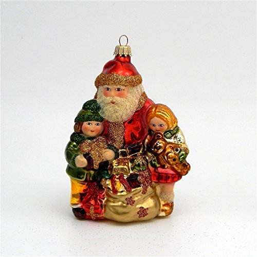 (Victorian Santa With Children - German Blown Glass - Lauscha Germany)