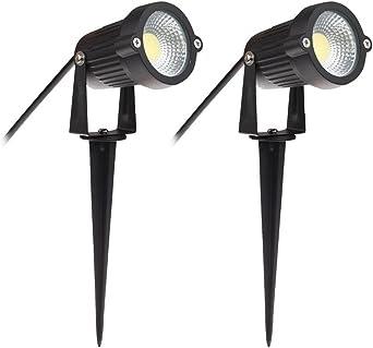 2 x Focos Proyector LED con Estaca Exterior Jardín IP65 COB 5W 220V Blanco Frío: Amazon.es: Iluminación