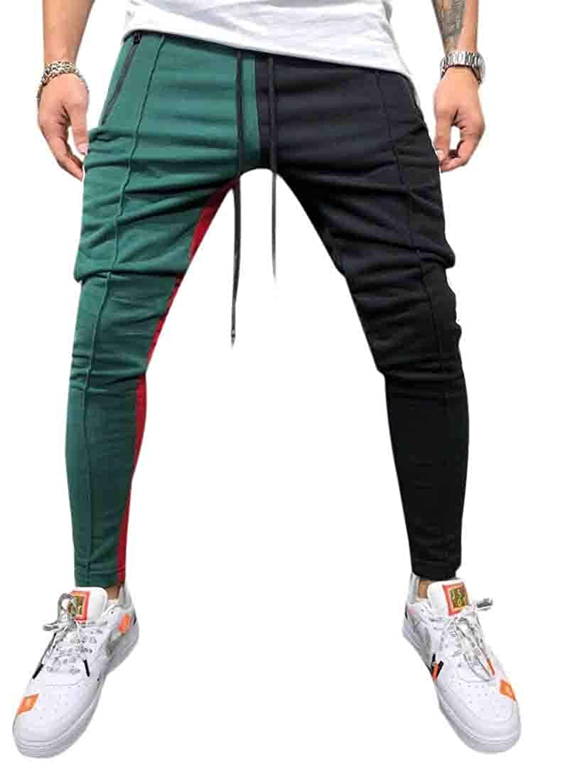 yibiyuan Men Color Block Patchwork Jogging Pant Sports Hip Hop Track Trousers