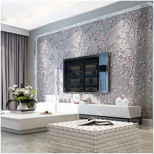 QIHANG Modern Simple 3D Thick Non-woven Embossed Tree Flowers Pattern Living Room Wallpaper Roll Purple&gray Color 1.73' x 32.8'=57 square feet