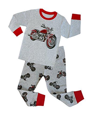 TinaLuLing Boys Pajamas 2pc Long Sleeve Cotton Motorcycle Pajama Kids Pyjamas