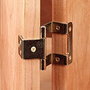 Non-Mortise 270° Hinges (2), Bright Brass