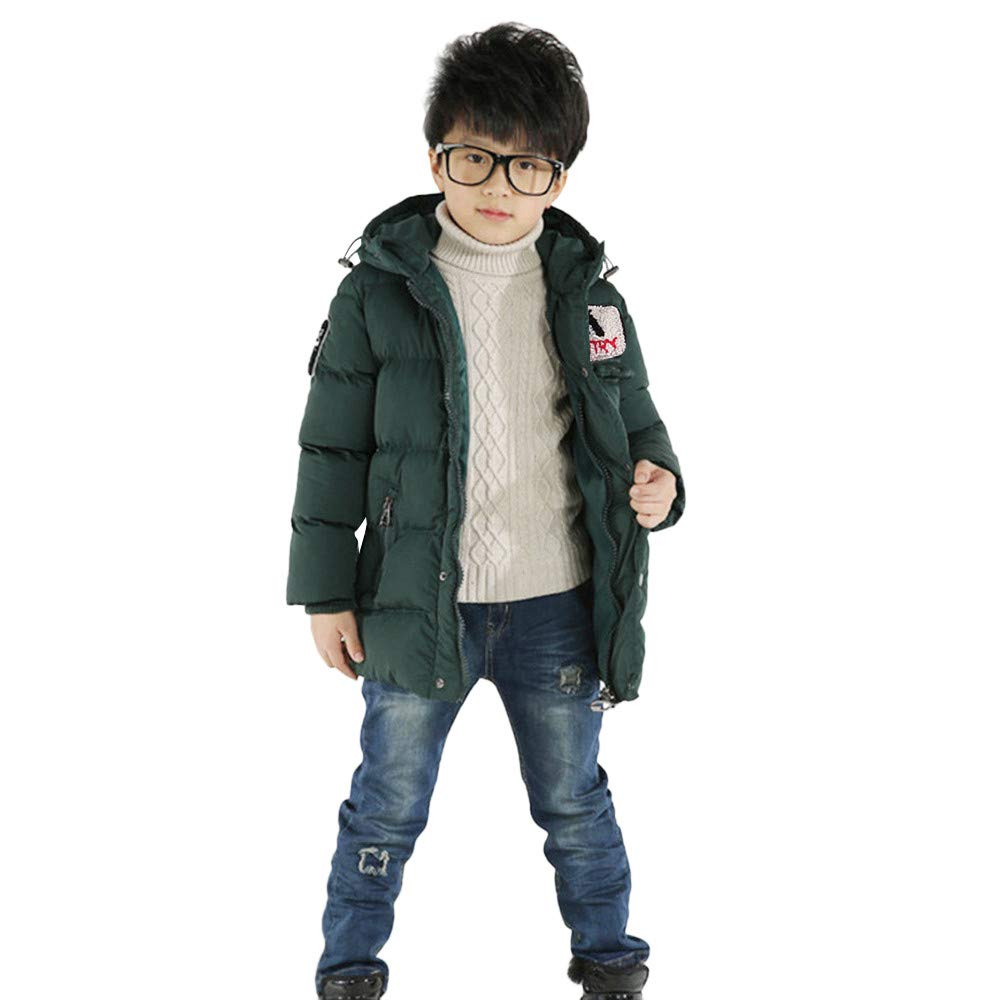 Anxinke Kids Boys Girls Winter Long Sleeve Zipper Hooded Down Jackets