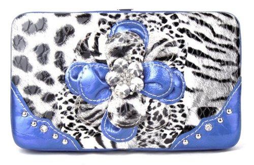 - Leopard Flower Clutch Opera Wallet - BLUE