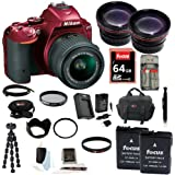 Nikon D5500 DX-format Digital SLR w/ 18-55mm VR II Kit (Red) with 64GB Deluxe Accessory Kit
