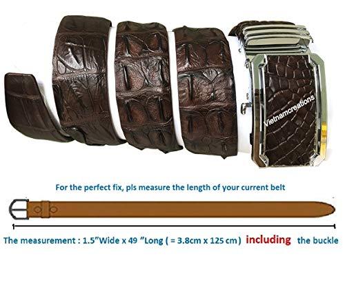 NoJointed # Men's Belt Genuine Crocodile Alligator Skin Leather Belt Handmade (Dark Brown