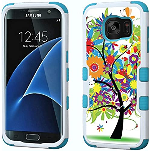 Fit Galaxy S7 EDGE, One Tough Shield  3-Layer Hybrid phone Case (White/Teal) for Samsung Galaxy S7 EDGE - (Colorful Sales