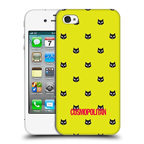 Official Cosmopolitan Yellow Green Lovey The Cat Hard Back Case for Apple iPhone 4 / 4S