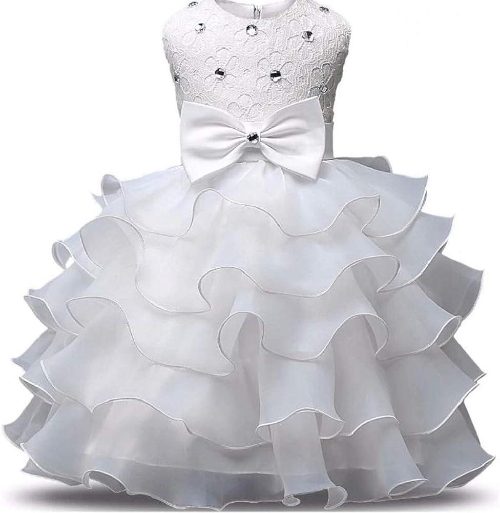 GIO344 Blanco Vestido Fiesta Piedras Plateadas Talla 7 Años Traje ...