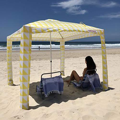クールなカバナUPF50、50+UV保護、8ポケット簡単クールカバナビーチキャノピーサンシェルターテントキャンプ傘、砂アンカー付き簡単セットアップカバナポップアップテントビーチサンシェード-イエロートライアングル   B07HGK13ZF