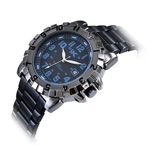 Yaki Herrenarmbanduhr 3ATM Wasserdicht Markenuhren Quarz Uhr Blau Arabisch Ziffern mit Datumsanzeige Metall Schwarz