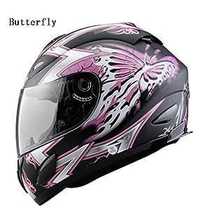 YSH Cascos De Moto para Hombres Y Mujeres Casco De Cara Completa Casco De Carreras De Motocross Capacete Moto,Butterfly-S50-52cm