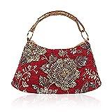 2018 Spring Flower Embroidery Shoulder Bag India Style Handbag Leather Flannel Handbag Flower Tote Bag (Red)