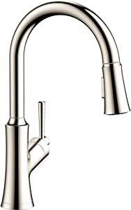 hansgrohe Joleena 1-Handle 16-inch Tall Kitchen Faucet with Pull Down Sprayer with QuickClean in Polished Nickel, 04793830