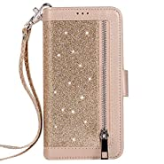 Jennyfly Women Fashion Wallet-Style PU Leather Hand Free Stand Purse Case with Hand Strap Multi-Slots Pocket Protective Phone Case