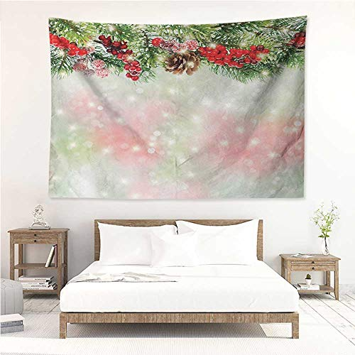 alisos Christmas,Tapestry for Home Decor Evergreen Fir Branches with Red Ripe Holly Berries Blurred Backdrop Garland 91W x 60L Inch Bedroom Wall Hanging Red Green Brown