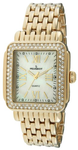 14k Ladies Watch - Peugeot Rectangle Crystal Bezel Roman Numeral Dial 14K Gold Plated Bracelet Dress Watch 7080G