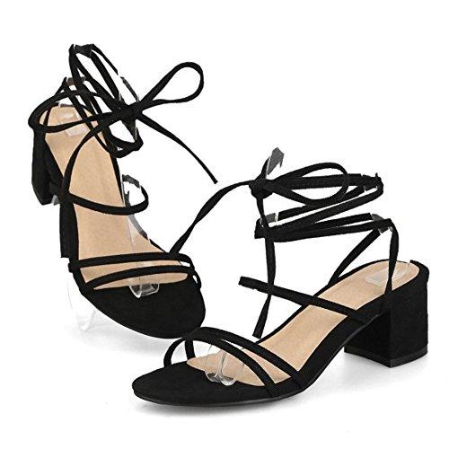 RAZAMAZA Mujer Moda Cordones Sandalias Tacon Ancho Cordones Colegio Zapatos Negro