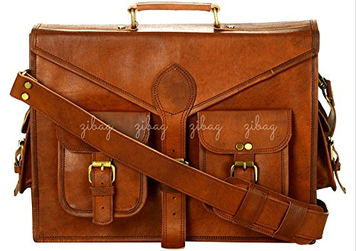 ZiBag 15 Inch Genuine Leather Handmade Vintage Rustic Crossbody Messenger Courier Satchel Bag Gift Men Women ~ Carry Laptop Computer ~ Rugged & Distressed ~ Everyday Office College School Business