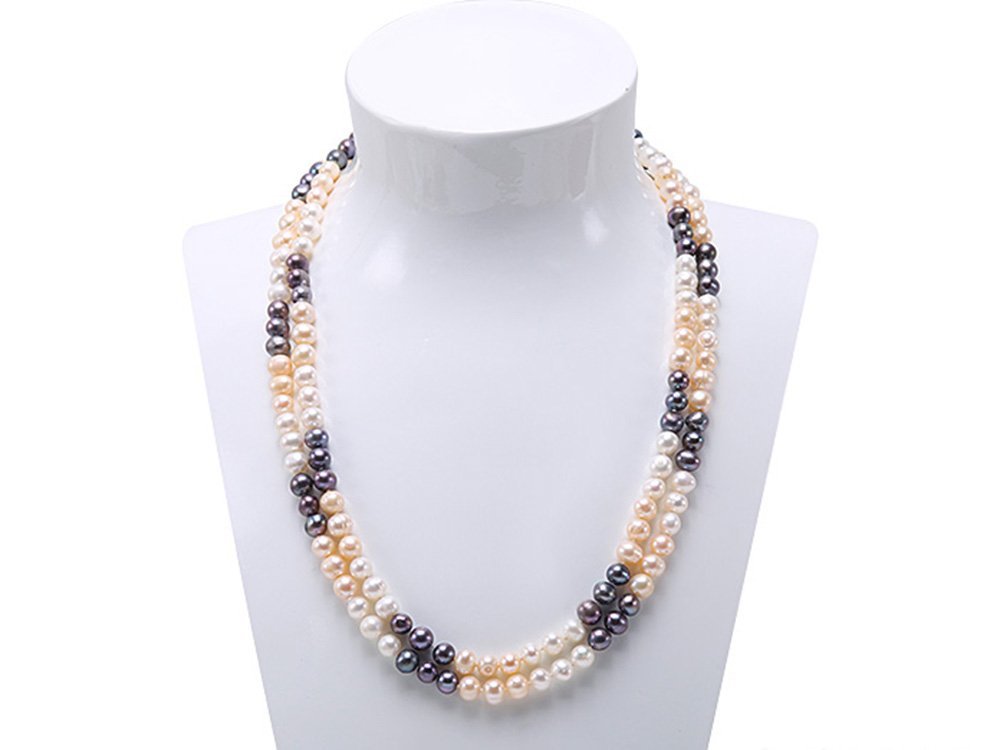 JYX 8-9mm Multicolor Round Freshwater Pearl Necklace