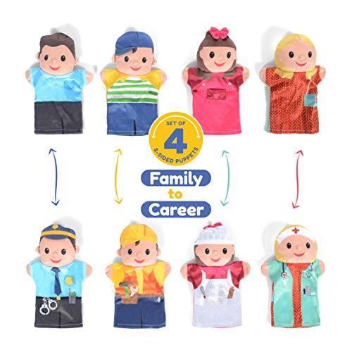 8 Sides Milliard Double-Sided Puppet Family of Community Helpers 4 Puppets