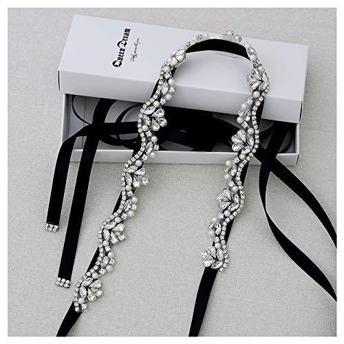 QueenDream Hand Crystal Bridal Belts Sashes Rhinestone Belt Black for Wedding Bridesmaid Dress