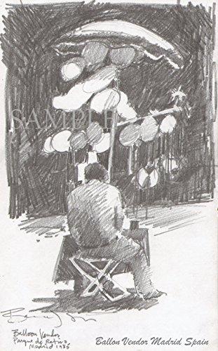 Pencil Drawing in Madrid, Spain - Giclee Print of Original p