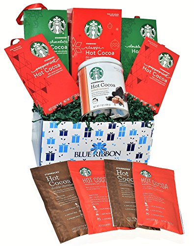Mix Christmas Starbucks Hot Cocoa Gift Basket - Starbucks Holiday Hot Cocoa Flavors - Peppermint, Double Chocolate, Salted Caramel, Classic - Christmas Gift Pack for Family, Friends, Her, Him and more