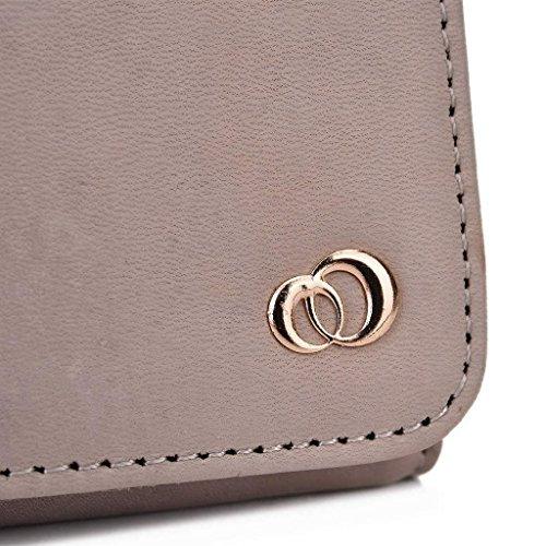 Kroo Pochette Housse Téléphone Portable en cuir véritable pour LG G Pro 2 Gris - gris