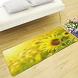 WSHINE 15.7'' 47.2'' Sunflower Floor Runner Rug Kitchen Mats Indoor Outdoor Doormat Window Room Mat, Yellow