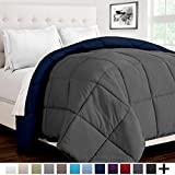 Ultra-Soft Premium 1600 Series Goose Down Alternative Reversible Comforter - Hypoallergenic - All Season - Plush Fiberfill (Twin/Twin XL, Dark Blue/Grey)