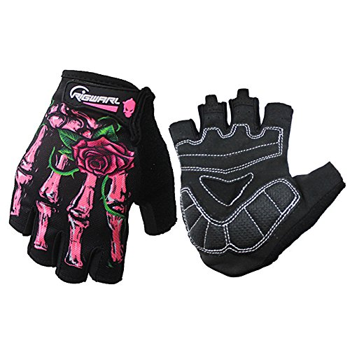 Youth Pro Cool Ghost Claw Half Finger Gloves Padded For Cycling Biker Outdoor Research Adventure Camping Mountaineering Exercise Racer Motorcycles Indoor/Outdoor Sports Best Gift (Pink, L)