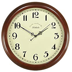 Ing-Never Stop Wall Clocks,Large Decorative Wooden wall clock Non-ticking 14 for Living Room/Home/Office/kitchen