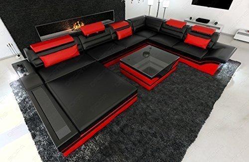 Designer Wohnlandschaft Mezzo Xxl Mit Led Schwarz Rot Gunstig Bestellen