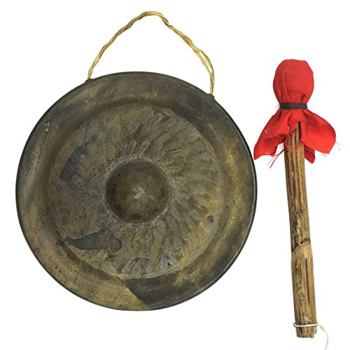 Brass Desktop Hanging Gong With Bamboo Rammer 7'' Diameter x 0.7'' Height by VietsWay